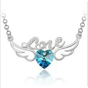 Silver, angel wing necklace with stone & love